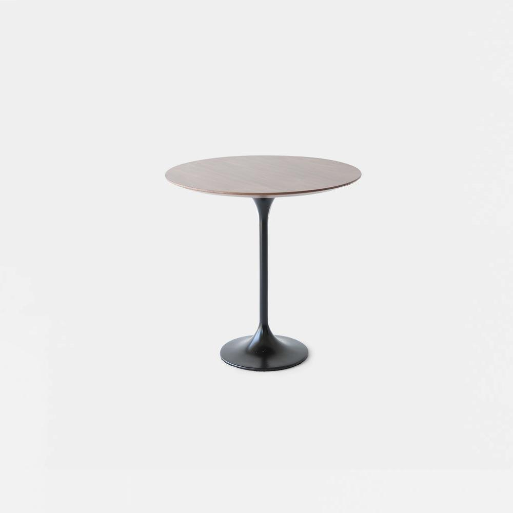 Dark Walnut Wood Tulip Side Table   Round
