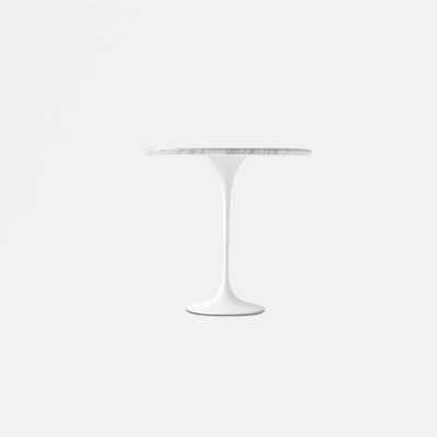 White Carrara Marble Tulip Side Table - Round