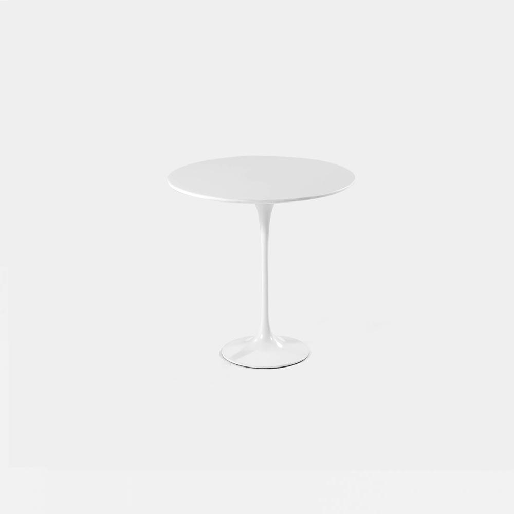 White Lacquer Tulip Side Table - Round