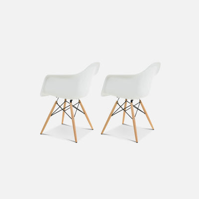 Set of Two DAW Molded Plastic Armchair Wooden Dowel Base