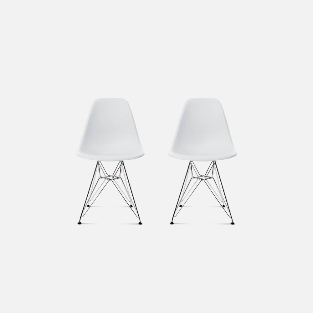 Set of Two DSR Molded Plastic Side Chairs