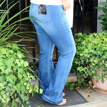 70's Pull on Flares in Curvey in Medium Denim
