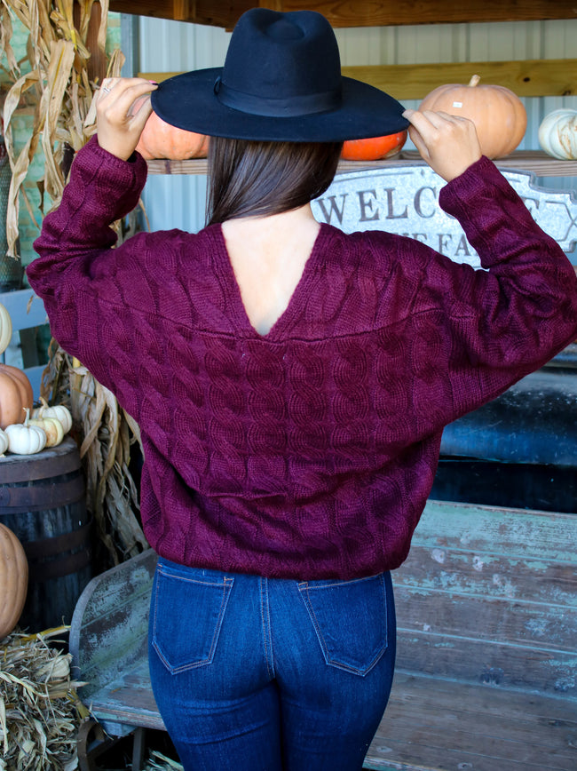 Winding Road Sweater in Burgundy