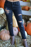 Maddie Bea Distressed Slim Boyfriend Jean in Black