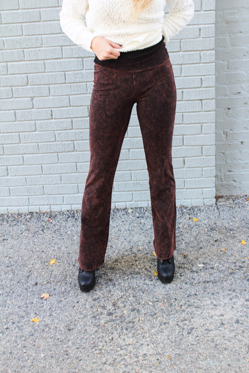 Maddie Bea High Waisted Mineral Wash Flares in Brown