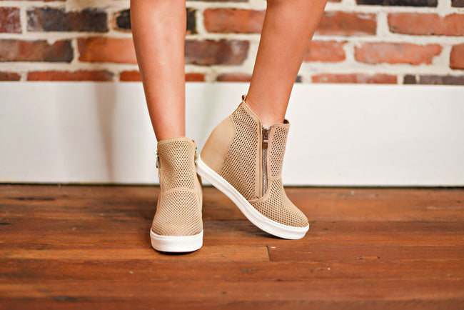 Sky's The Limit Wedge Sneakers in Beige