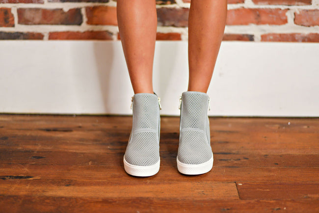 Sky's The Limit Wedge Sneakers in Ash Blue