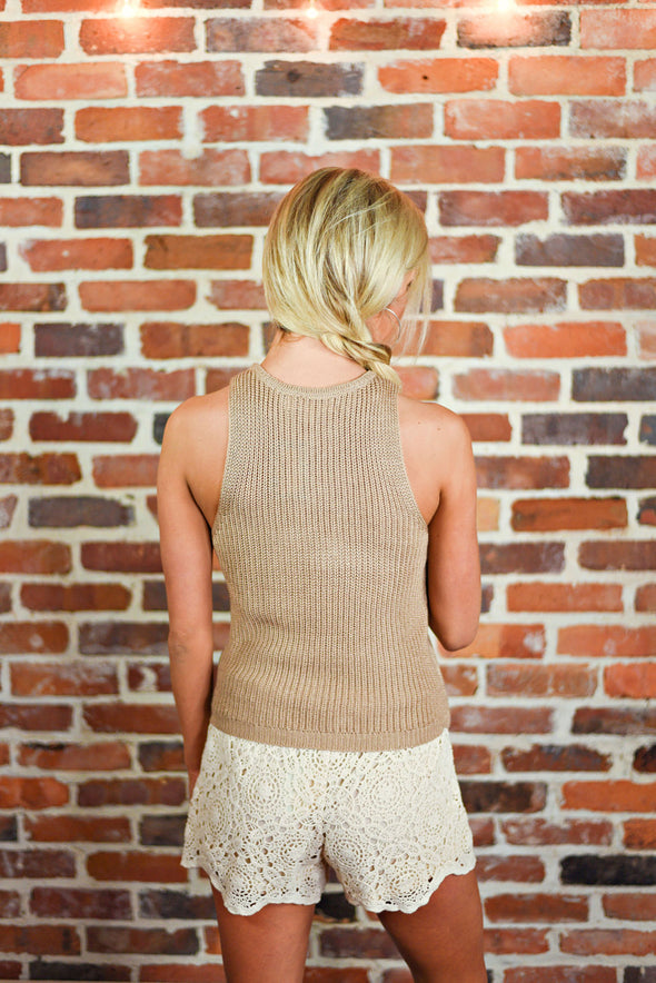 Live For Now Crop Tank in Tan