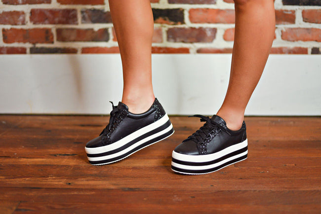 All That Glitters Platform Sneakers in Black
