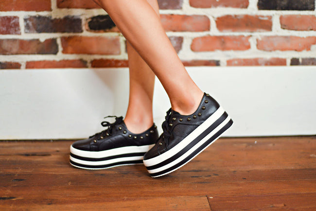 Star Studded Platform Sneakers in Black