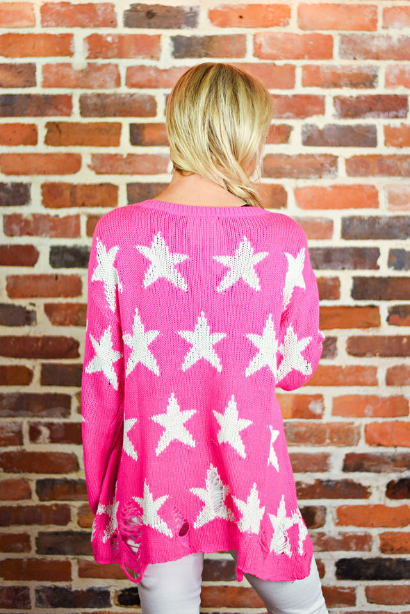 Rising Star Sweater in Neon Pink