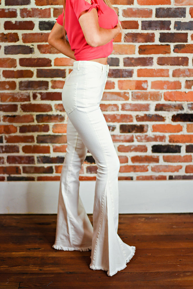 Ring The Bells Flares in White Denim