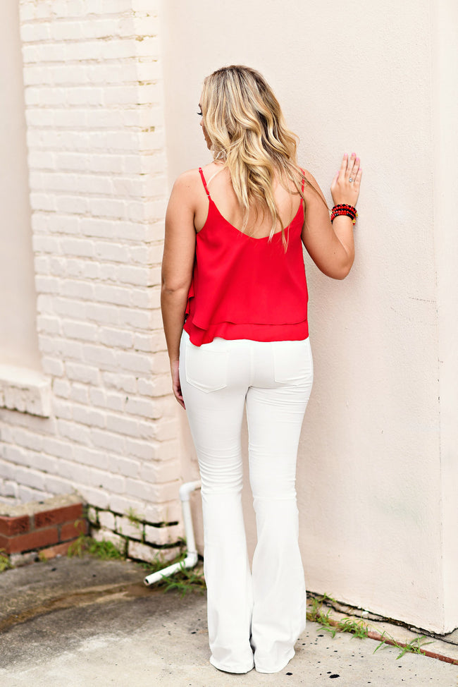 Maddie Bea Pull On Flare in White