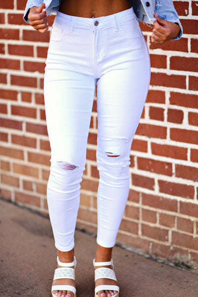 Maddie Bea White Denim Skinnies