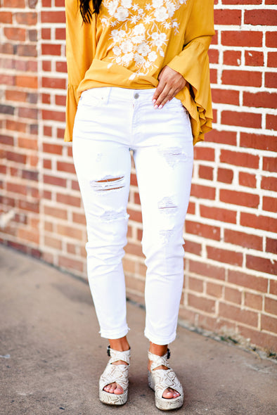 Destroyed Boyfriend Jean in White