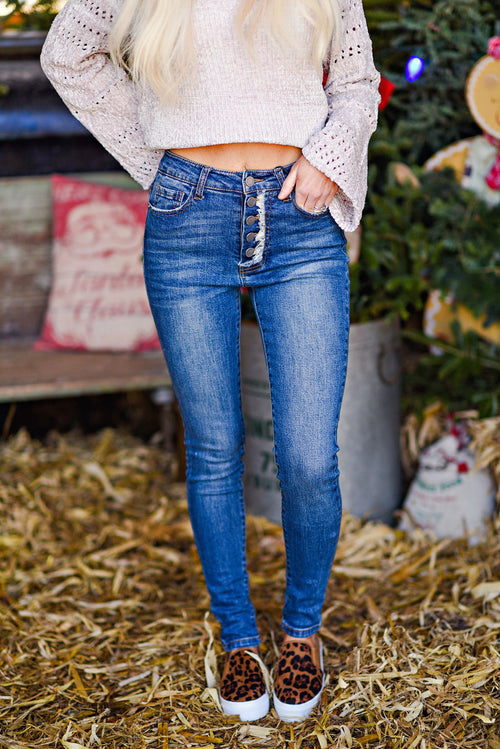 New Love High Waist Button Down Skinny Jean