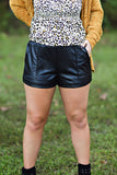 Maddie Bea Leather Shorts in Black