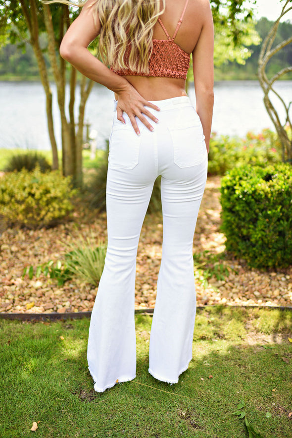 Rise Up High Rise Super Flare in WHite