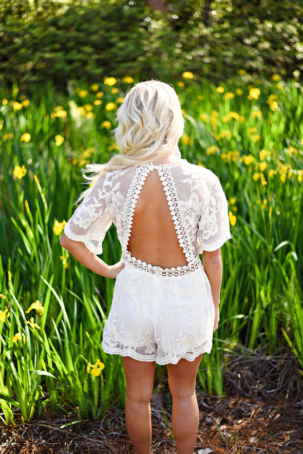 Our Little Secret Romper in Natural