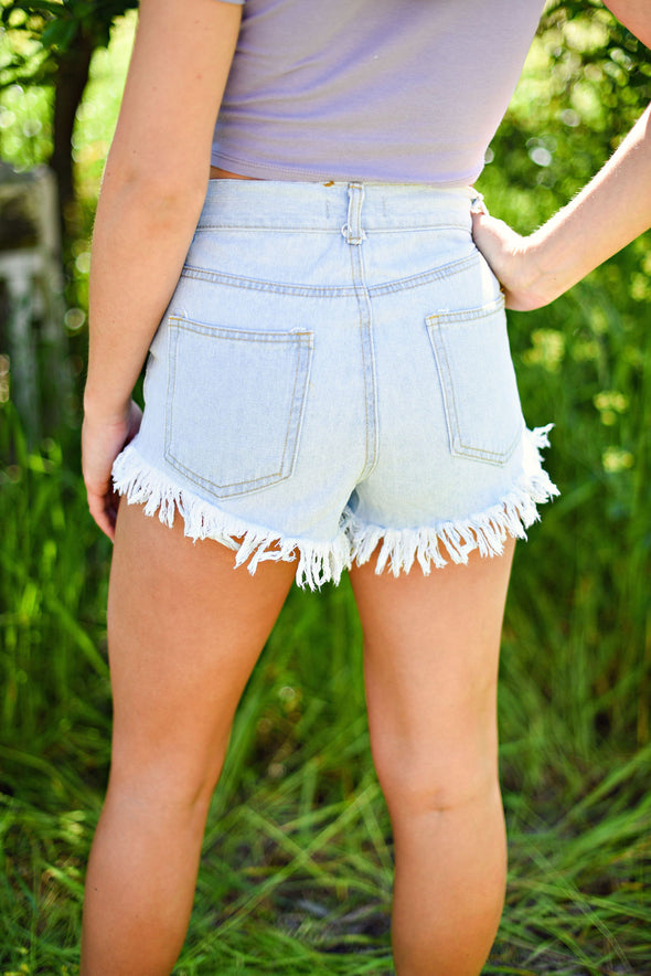 Hold On Tight Distressed Denim Short