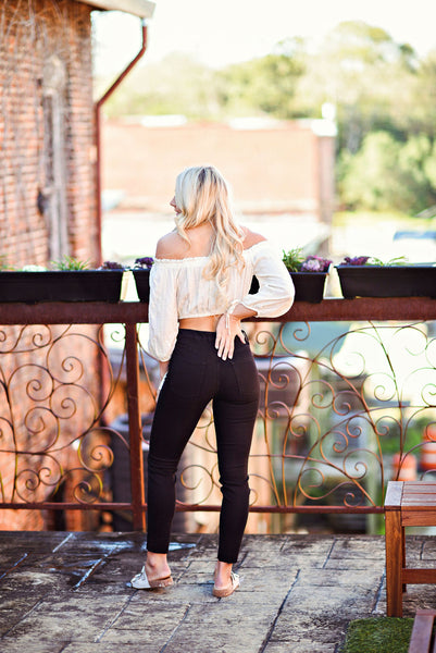 Maddie Bea Button Front Skinnies in Black