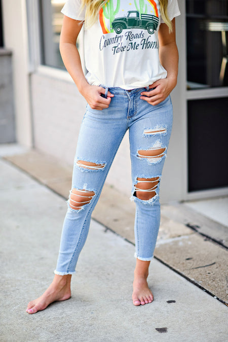 Hit The Highway  Distressed Crop Skinny Jean