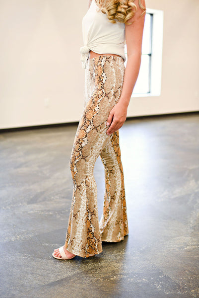 Let's Walk On The Wild Side Flares in Gold