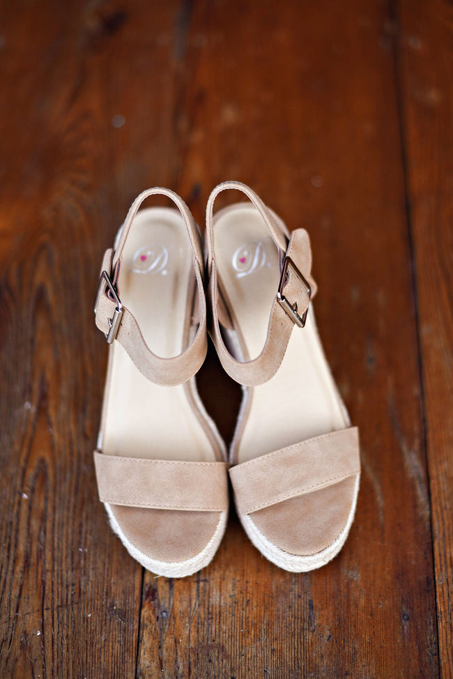 Take Me Higher Wedges in Tan