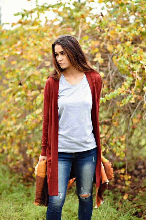 Right About It Cardigan in Dark Rust