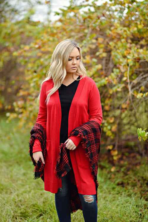 Right About It Cardigan in Ruby