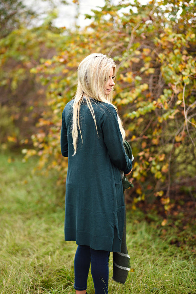 Right About It Cardigan in Hunter Green