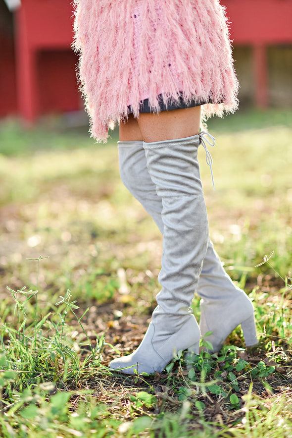 Walk The Walk Over The Knee Boot in Gray