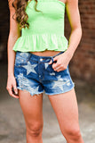 Lucky Stars  Dark Denim Shorts
