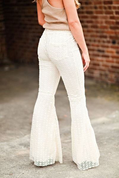Beautiful People Lace Flares in Cream