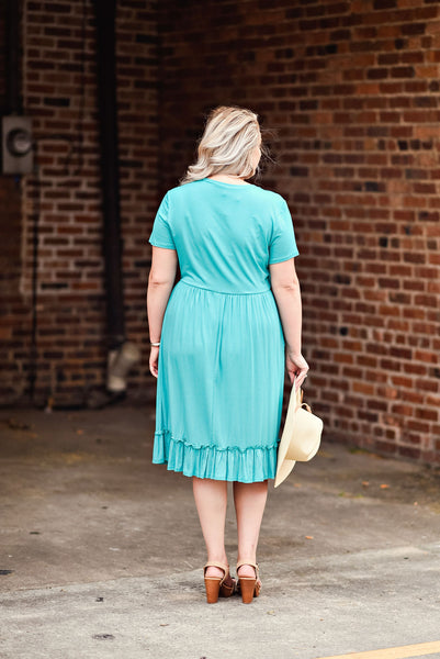 Summer Crush Curvey Dress in Turquoise