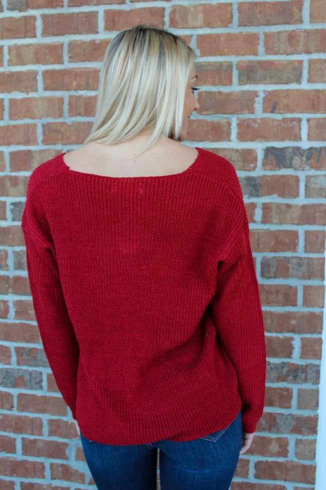 Perfect Timing Sweater in Red