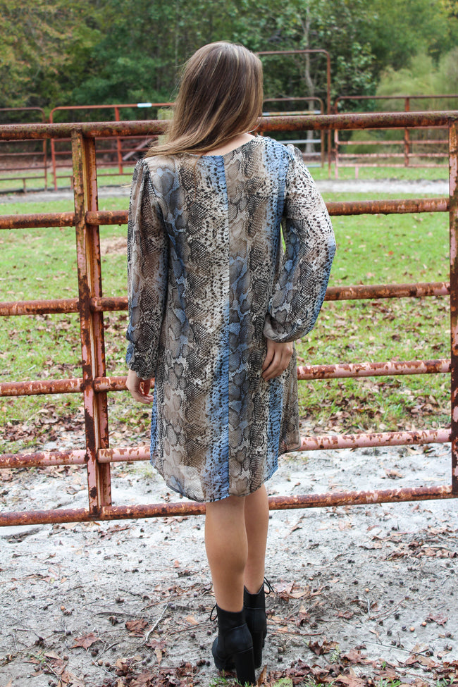 Found Your Love Dress in Blue Snakeskin