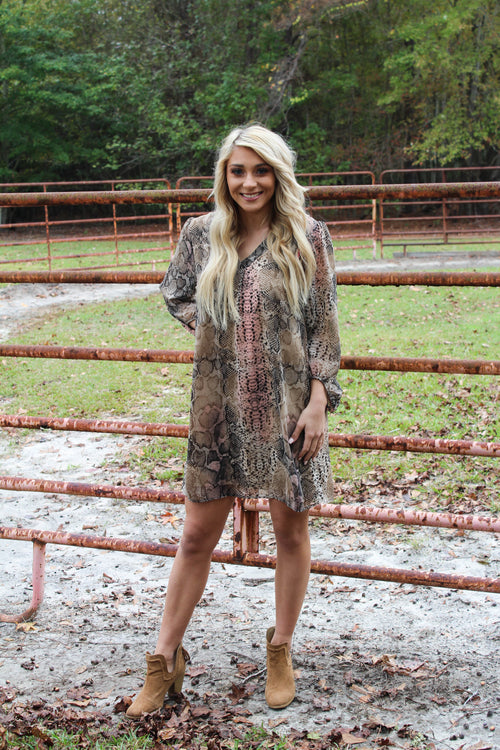 Found Your Love Dress in Taupe Snakeskin