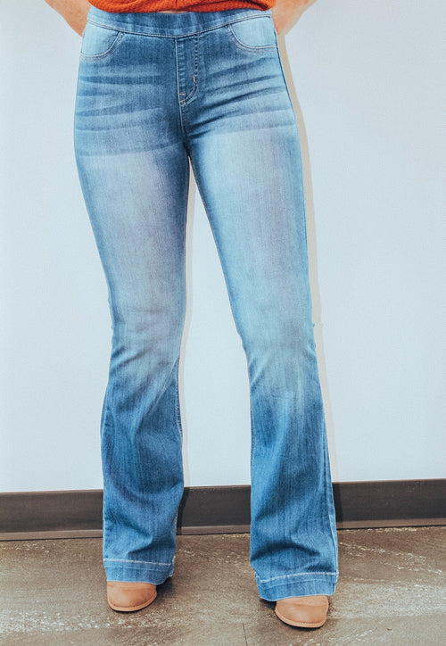 70's Pull on Flares in Denim