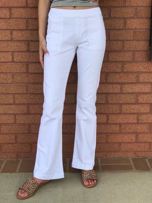 70s Pull On Flares 30 Inch Seam In White w/ pocket