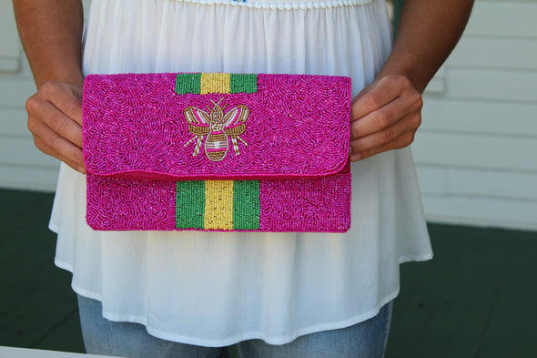 Beaded Bee Clutch in Fuchsia
