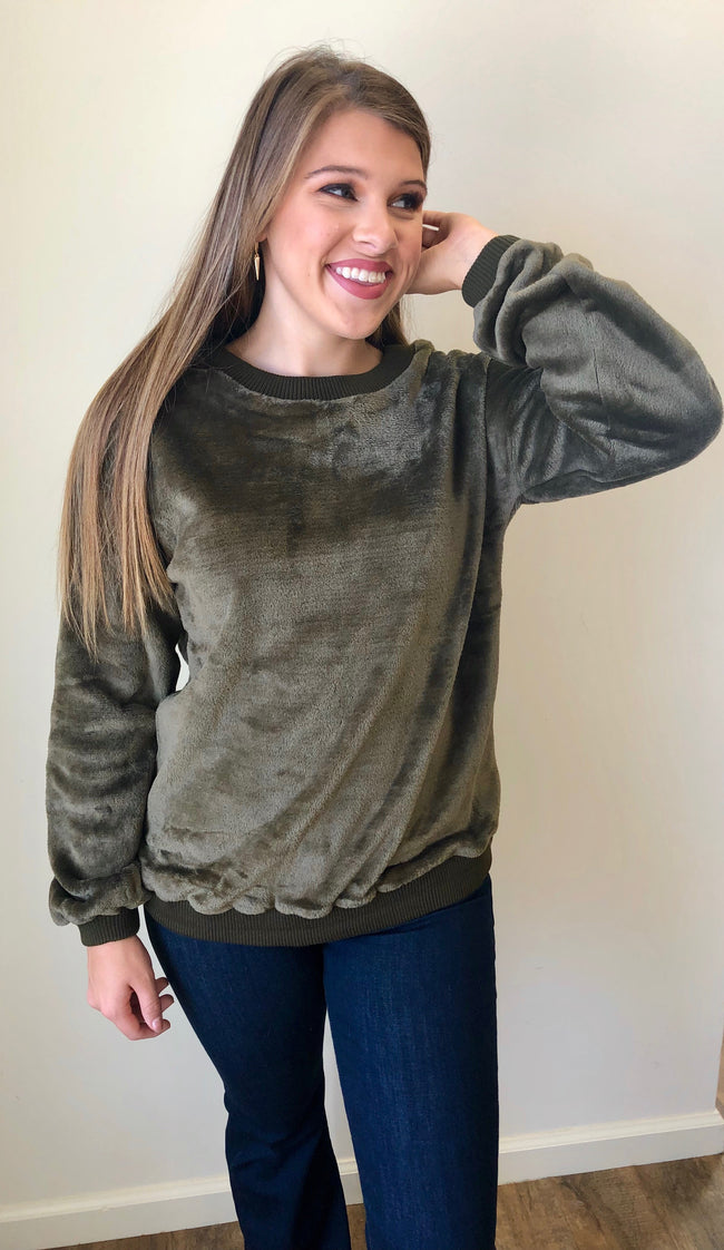 On Cloud Nine Pullover in Olive