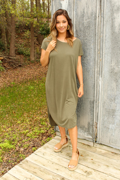 Pure And Simple Dress in Olive