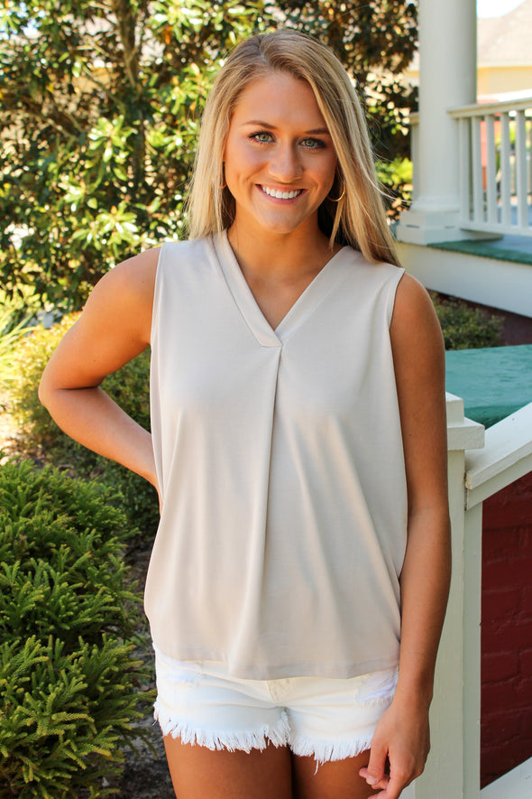 Maddie Bea  Essential V Neck Tank in Oatmeal