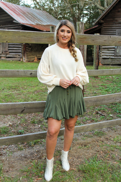 Breeze Through Life Skirt in Olive