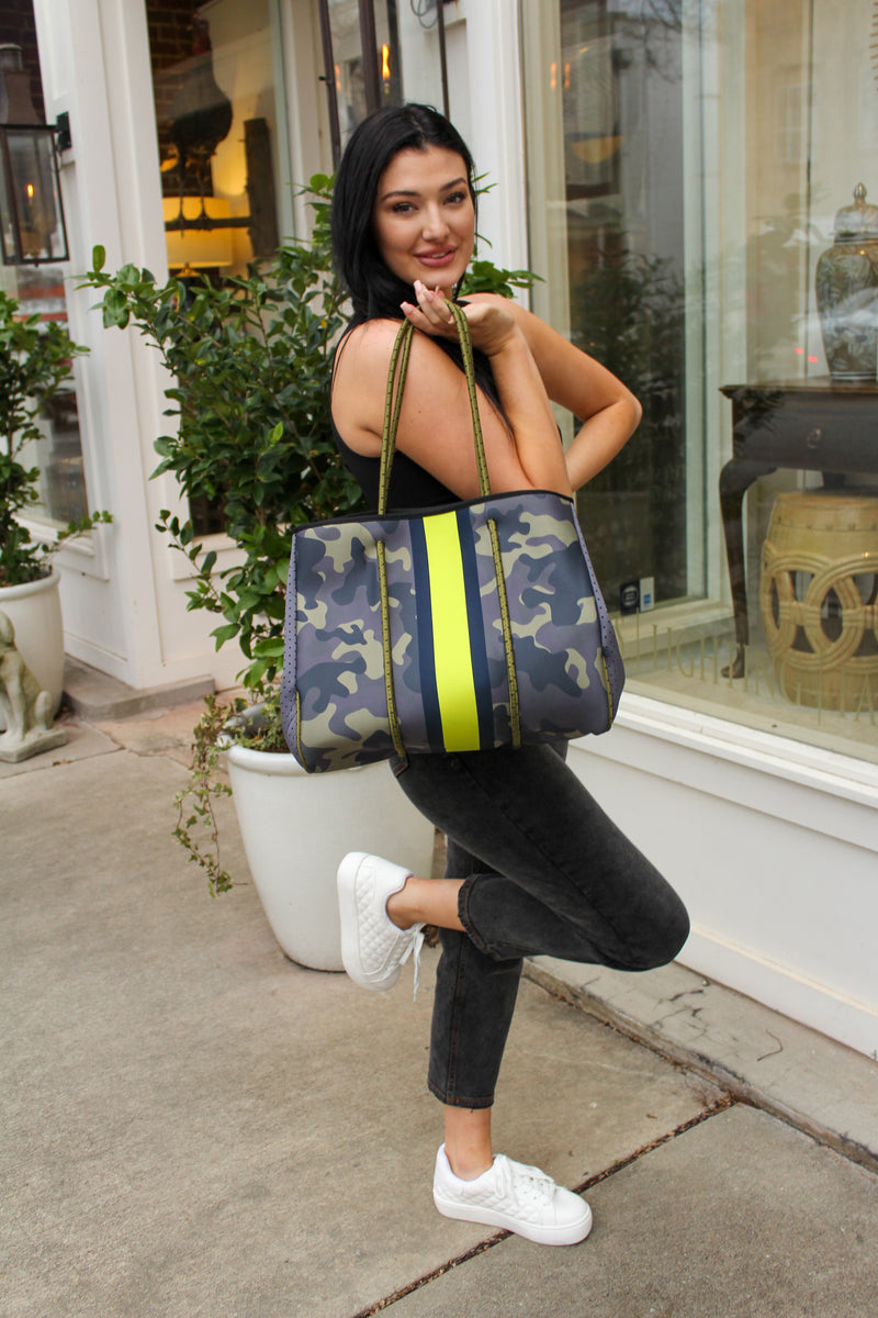 Dark Camo With Yellow Stripe Tote