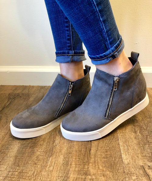 Second Glances Wedge Sneaker in Grey