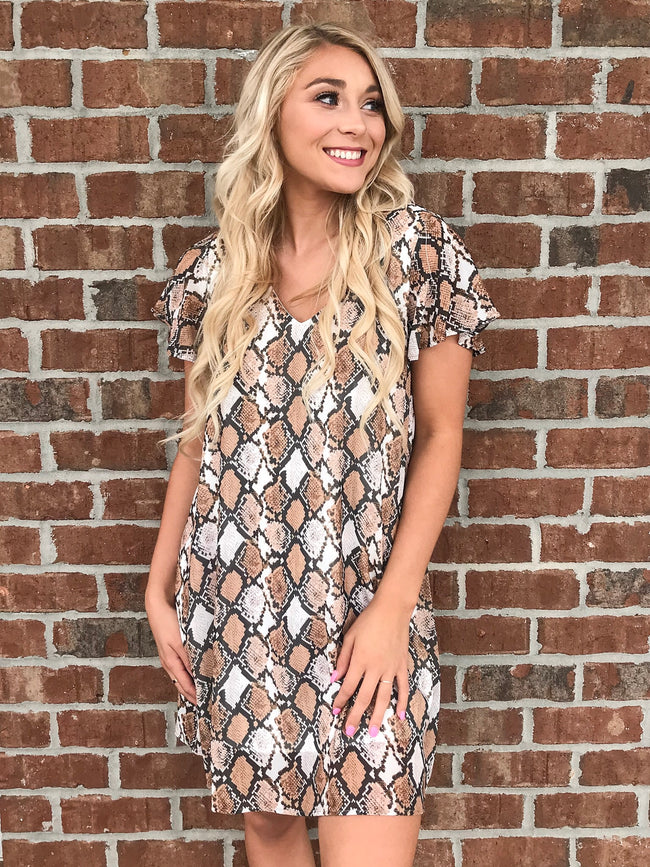 The Sneak Away Dress in Brown