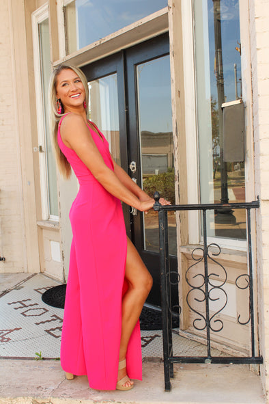 The Brighter Side Jumpsuit in Fuschia