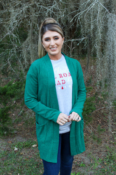 Kill The Chill Cardigan in Deep Green